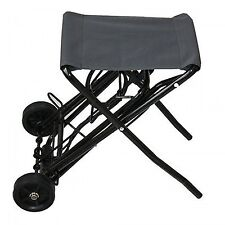 Foldable Camping Trolley w Seat Heavy Duty Hiking Fishing Luggage Storaga Cart