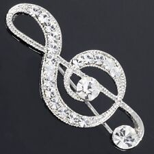 #P20J Sparkle Music Note Treble Clef Clear Crystal Teacher Gift Pin Brooch New