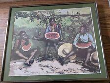 Framed Black Americana Print of Children & Watermelon