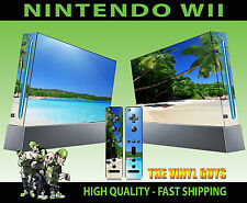 NINTENDO WII STICKER TROPICAL BEACH PARADISE PALM TREE STYLE SKIN & 2 PAD SKINS