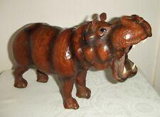 Decorative Vintage Leather Clad Hippo/Hippopotamus Figure ~ Ideal Interior Decor