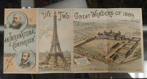 ANTIQUE BUFFALO INTERNATIONAL FAIR c.1889 FOLDED ADVERTISEMENT - EIFFEL TOWER