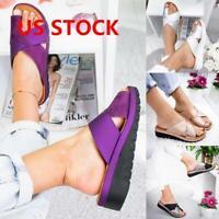 Women Comfy Platform Sandal Shoes - PU LEATHER Bunion Corrector Summer Fashion