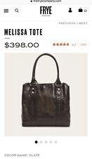Authentic Frye Melissa slate Leather Tote purse Handbag Satchel