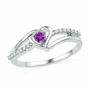 10k White Gold Womens Lab-Created Amethyst Heart Fashion Ring 1/5 Cttw