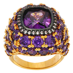 QVC The Elizabeth Taylor 12 ct Simulated Amethyst Cluster Ring Size 6