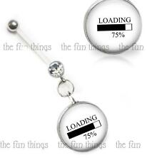 """Loading 75% Maternity Belly Ring Pregnancy Navel Retainer Glass Top 14ga 2"""" 50mm"""