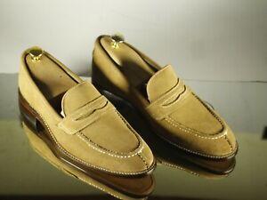 Handmade Men's Beige Split Toe Suede Penny Loafers, Men Designer Fashion Shoes
