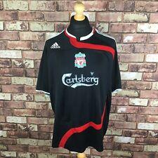 Liverpool Away Football Mens Large 2007-2008 3rd Shirt Black Carlsberg Adidas