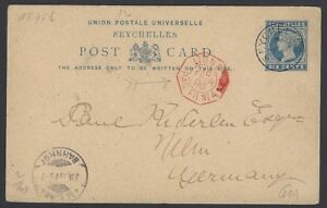 Seychelles QV 6c postal card to Germany wi red LIGNE PAQ FR No.4 marine sorter