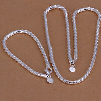 Cool 925Sterling Silver Simple Strong Men's Jewelry Necklace Braclet Set YS068
