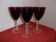 """Set Of 4 Artland Hand Blown Crystal Stemmed 7"""" Wine Glasses In A Violet Color"""