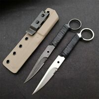 7'' New CNC Leather Rope Handle 440C Steel Blade Survival Hunting Knife VTH05