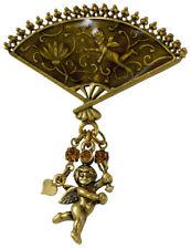 NEW PILGRIM DENMARK 16K GOLD CUPID BROWN CRYSTAL BROOCH / PIN HANDMADE VINTAGE