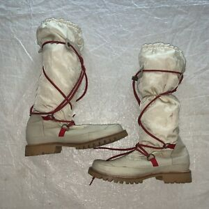 HUNTER Amazonas Cream Leather Red Lace Up Hiking Summit Winter Snow Boots 10