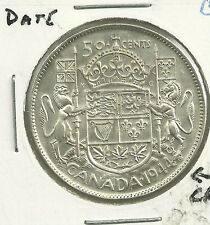 1944 ND CANADA 80% SILVER 50 CENT DOUBLE 9 HOOF THRU 4 (DIE CRACK)