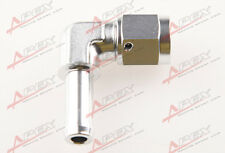 """90 Degree 6AN AN6 AN-6 Female to 3/8"""" 10mm Barb hose Adapter Fitting Silver"""
