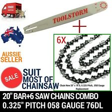 NEW20'' BAR AND 6 CHAINS FOR Baumr-Ag SX62 SX66 62CC 66CC CHAINSAW .325 058 76DL