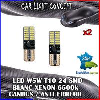 2 x ampoule veilleuse Feu LED W5W T10 BLANC XENON 6500k voiture auto moto 24 smd
