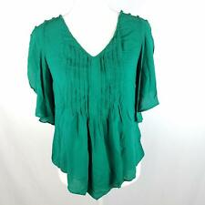Maeve Anthropologie Top Blouse Womens Sz 2 Green Pleated V Neck Ruffle Sleeve