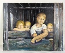 16 x 20 Oil Painting Portrait Four Young Blonde Farm Boys in Barn Window signed