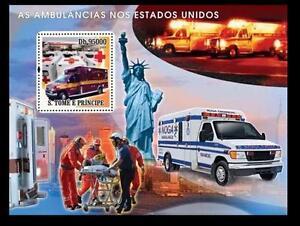 Sao Tome 2008 MNH SS, Red Cross Ambulance America Statue of Liberty Stretcher