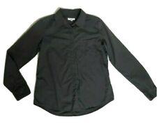 Equipment Femme Women M Button Front Blouse Shirt Gray Black Pocket Top Solid