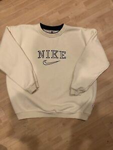 vintage nike spellout sweatshirt Crewneck cream Rare Size Mens Medium 90s