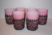 Set of 6 Tea Glasses Pink with Black Filigree Holders