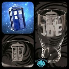 Tardis Doctor Who Pint Glass Unique Gift! FREE Name Engraving Personalised!