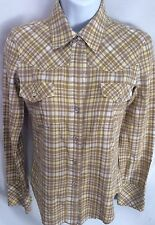 THEORY Petite Western Plaid Snap Blouse Shirt Flannel Yellow Beige Sz Sm