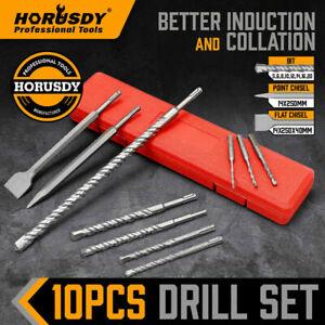 10Pc Rotary Hammer Drill Bits & Chisel Set SDS Plus Masonry Concrete Twist Drill