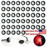 "50X 3/4"" CLEAR RED LED Clerance Marker Bullet Lights Lamps for Truck Trailer Bus"