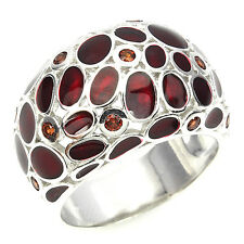 Sterling Silver 925 Red Enamel and Swiss Set Garnet Ring Size R.5 (US 9)