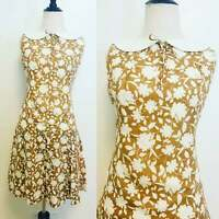 Vintage Dress, 1960s Floral Dress Tan and White Flower Dress Drop Waist Pleated