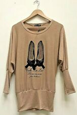 ✅New Ladies Fine Knitted Ballet Shoes ✅Mocha Batwing Tunic Top Size UK 12 BNWT✅