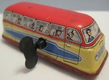Old Tin Wind Up Toy Touring Bus w Key Part of Turnpike Set Germany 1950s