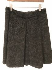 S Max Mara Italy Ussuri Black Faux Astrakhan Persian Lamb Fur A-Line Skirt Sz 14