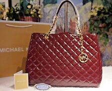 NWT Michael Kors SUZANNAH XL Quilted MERLOT Patent Leather Tote Shoulder Bag$448