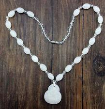 1pc Buddha Pendant Necklace Fashion Imitation Jade White Beads Feng Shui