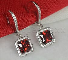 Halo Nickel Free Leverback 925 Silver Ruby Red Garnet Princess Dangle Earrings