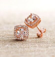 Rose Gold Plated Silver Morganite Glass and Cubic Zirconia Square Halo Post