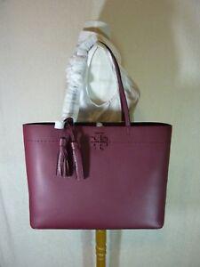 NWT Tory Burch Port/Imperial Garnet Burgundy Leather McGraw Tote Bag $398