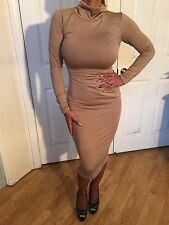 Sexy Bodycon Stretch Long Sleeve Turtleneck Tan Nude Midi Dress XL