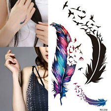 Waterproof Bright Coloured Feather Temporary Fake Tattoo Sticker Body Art UK