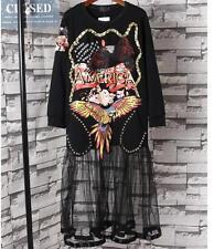Women punk rivets mesh Dress loose skirt print Sequins black Beach long Dress