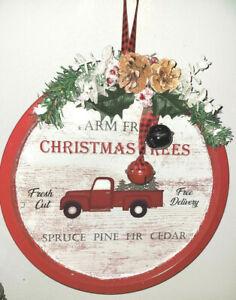 Farm Fresh Christmas Trees Farmhouse Round Wall Decor Sign Red Truck