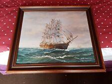 Vintage Large Framed Oil Painting Nautical Signed Ambrose