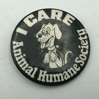 "Vintage Cute Dog Animal Humane Society I Care 2-1/8"" Button Pin Pinback  R1"