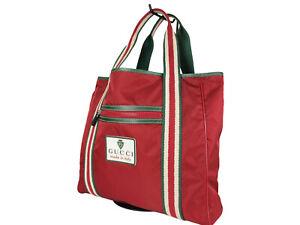GUCCI Cruise Line Nylon Canvas Red Shoulder Bag GT2502